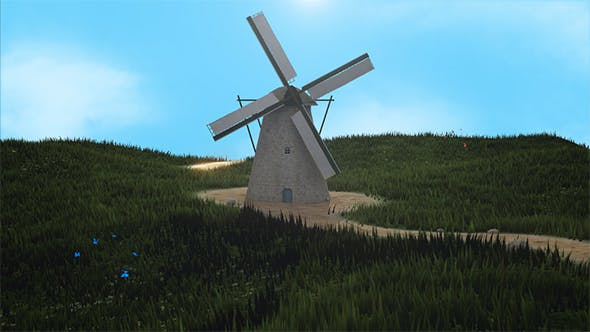 Thumbnail for 3D Windmill Landscape Background