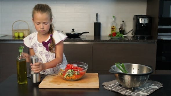 Thumbnail for Little cooky Girl  Preparing  food In The Kitchen