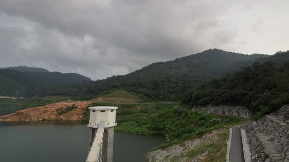 Time lapse high angle aerial view the Mengkuang Dam