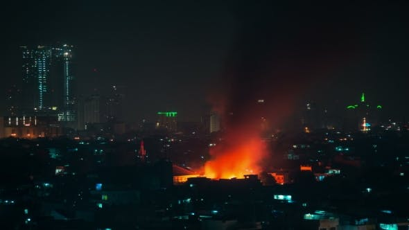Thumbnail for Big Fire In City Jakarta, Burning Building