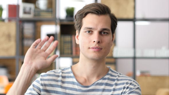 Thumbnail for Young Man Gesture of  Welcome, Waving Hand for Hello