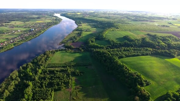 Thumbnail for Aerial View Of River In The Fields