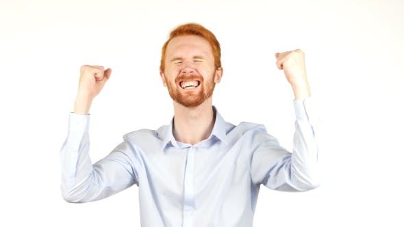 Cover Image for Excited Businessman After Immense Success, Red Hairs