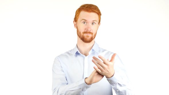 Cover Image for Clapping Businessman  with Beard, Applauding Team