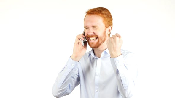 Cover Image for Successful Deal, Talking on Phone, Excited Businessman w/ Red Hairs and Beard