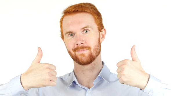 Thumbnail for Both Hands Thumbs Up,  Businessman w/ Red Hairs and Beard