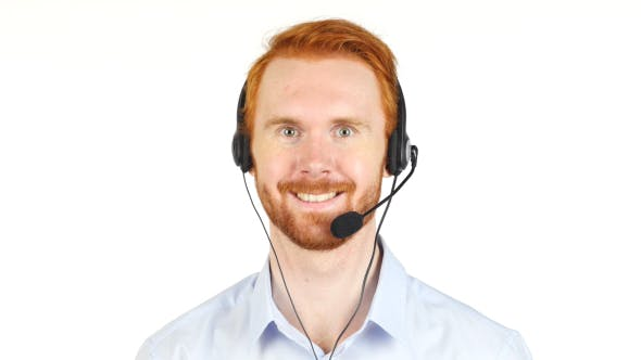 Cover Image for Portrait of Smiling Call Center Operator w/ Red Hairs and Beard