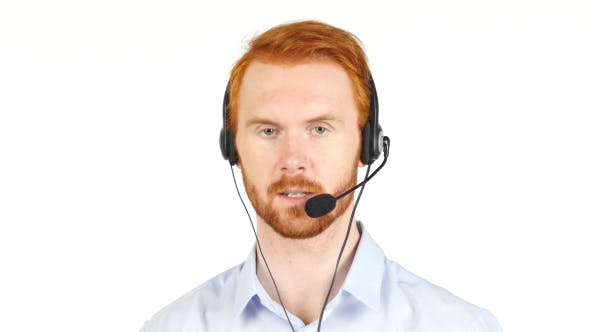 Thumbnail for Talking with Customers, Call Center Operator with Red Hairs and Beard