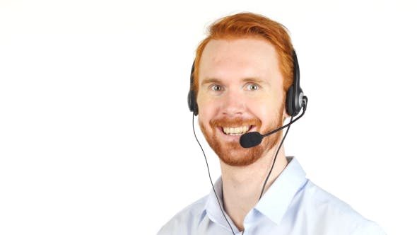 Cover Image for Smiling Call Center Operator w/ Red Hairs and Beard