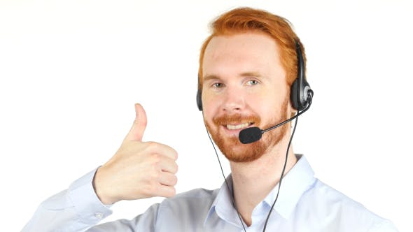 Thumbnail for Thumb Up, Call Center Operator w/ Red Hairs and Beard