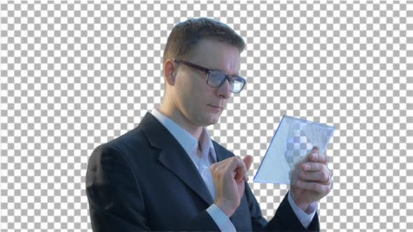 Thumbnail for Businessman Clicks a Tablet Put it Into Pocket
