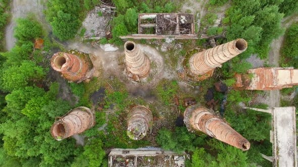 Thumbnail for Ruins Of Old Factory With High Chimney