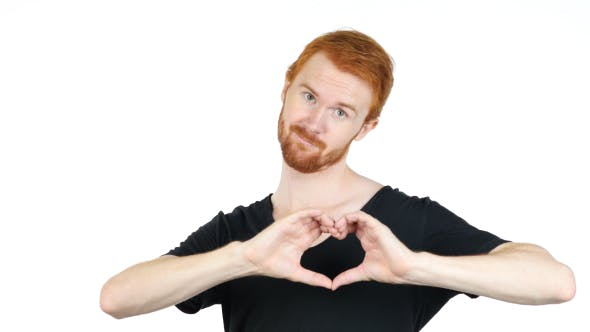Thumbnail for Heart Shape by Hands of Man w/ Red Hairs and Beard, Love Emotion