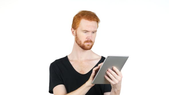 Thumbnail for Using Tablet PC Man w/ Red Hairs and Beard, Online Surfing