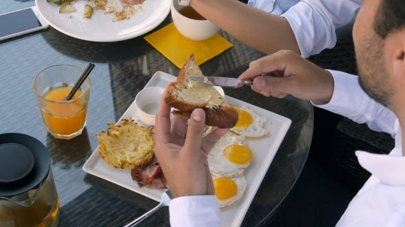 Thumbnail for Breakfast With Eggs Bread And Orange Juice And a Little Bit Butter
