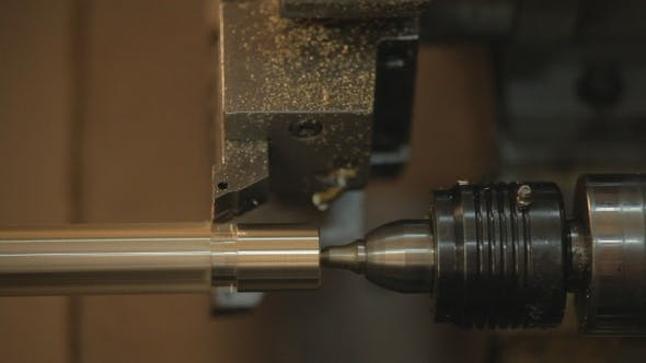 Thumbnail for Steel Metal Cutting Machine Process By CNC Lathe In Workshop