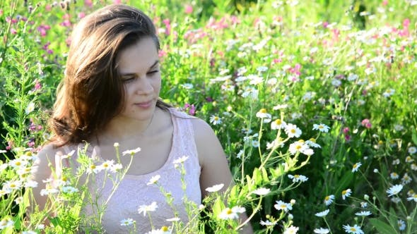 Thumbnail for Beautiful Girl Sees Daisies in Meadow