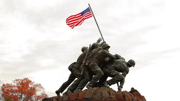 Thumbnail for A handheld static shot of the Marine Corps War Memorial on a breezy morning.