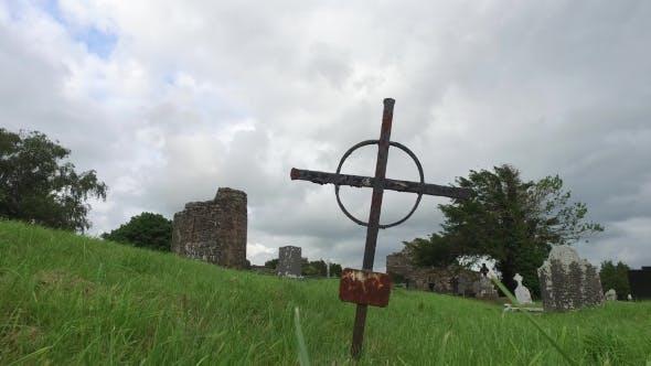 Thumbnail for d Grave Cross On Celtic Cemetery In Ireland 67