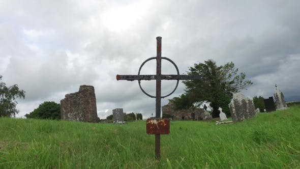 Thumbnail for Old Grave Cross On Celtic Cemetery In Ireland 66