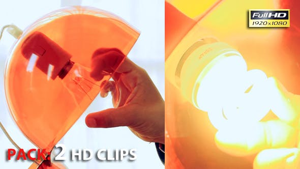 Hand changing Light Bulb for Lamp at Home. Pack of 2 Full HD Clips.