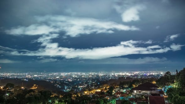 Thumbnail for Panoramic View Of The Bandung City In Indonesia At Night.   - Bandung, West Java, Indonesia, June