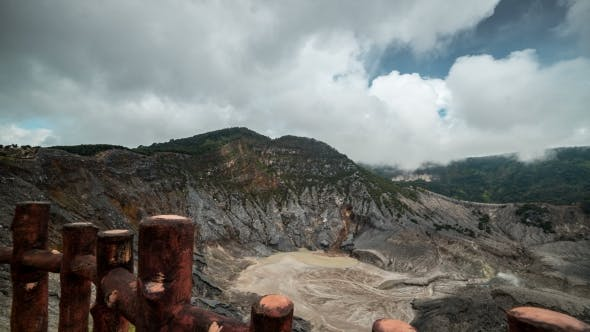 Thumbnail for Misty and Cloudy View of Tangkuban Perahu Volcano Crater In Bandung, Indonesia