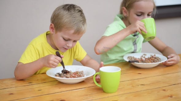 Thumbnail for Two Cute Kid Eating