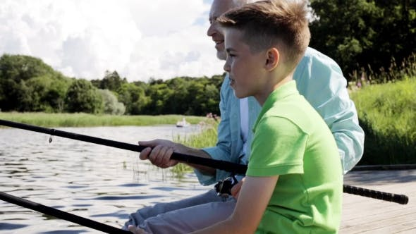 Thumbnail for Grandfather And Grandson Fishing On River Berth 8