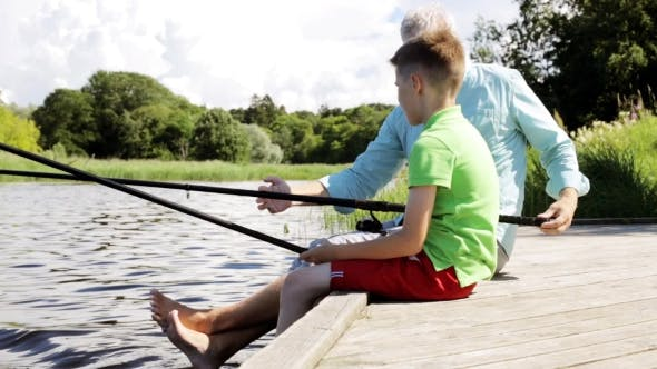 Thumbnail for Grandfather And Grandson Fishing On River Berth 14