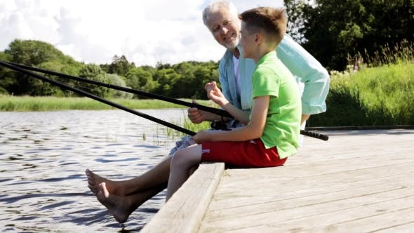 Thumbnail for Grandfather And Grandson Fishing On River Berth 13