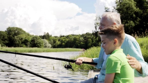 Thumbnail for Grandfather And Grandson Fishing On River Berth 6