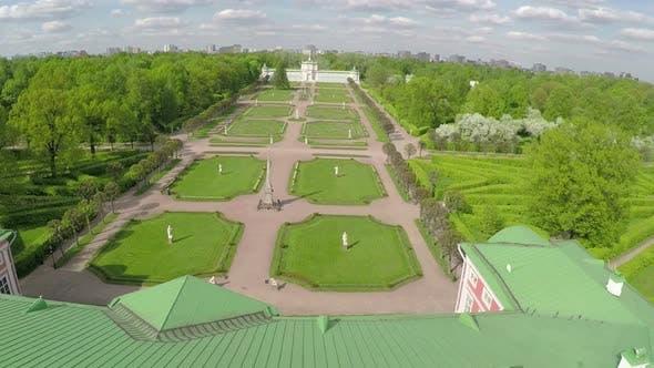 Aerial shot of Tsaritsyno Park in summer