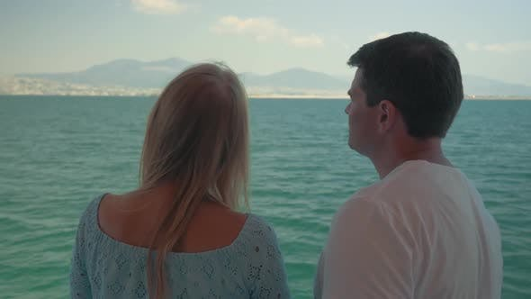 Thumbnail for Woman and Man Speaking on Boat Against Sea Landscape Piraeus, Greece