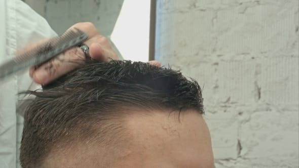Thumbnail for Men's Haircut At The Barber Scissors