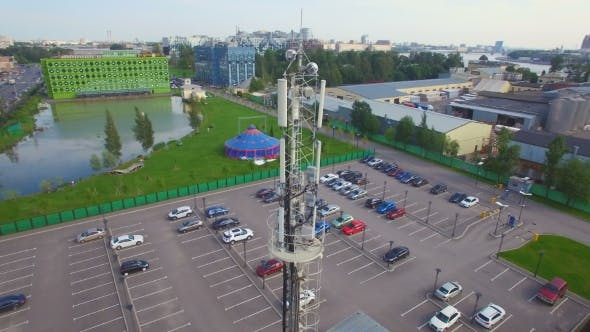 Thumbnail for Aerial view of a telecommunications cell tower in the city