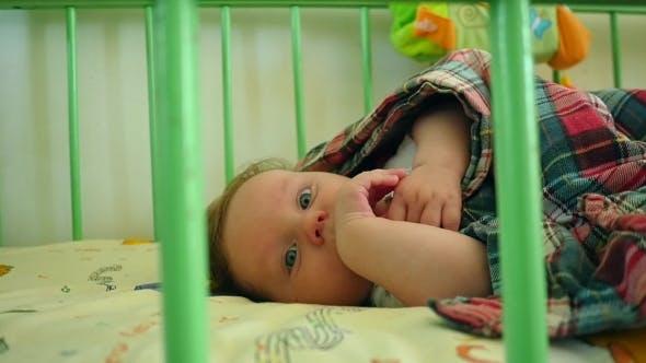Beautiful Baby Lying Awake In Crib