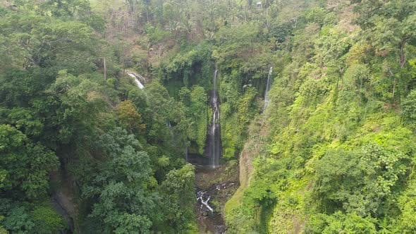 Cover Image for Beautiful Tropical Waterfall Bali,Indonesia.