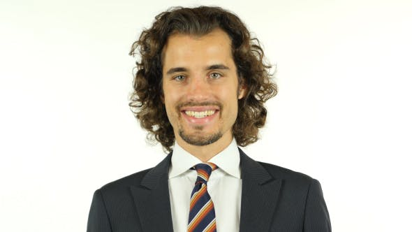 Thumbnail for Smiling Businessman with Curly Long Hairs
