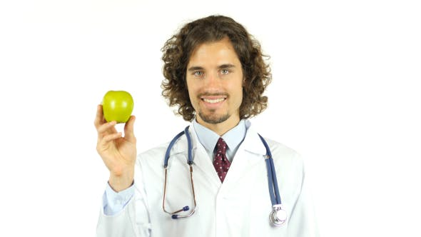 Thumbnail for Doctor Showing Fresh Green Apple, Sign of Health