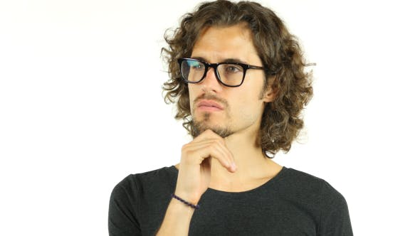Thumbnail for Thinking, Pensive  Young Man w/ Curly Hairs