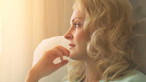 Thumbnail for Beautiful Sad Young Woman Crying at Home