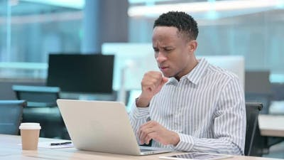 Young African Businessman with Laptop Having Cough Coughing