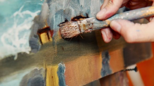 Thumbnail for Artist Applying a Brush Stroke To a Canvas