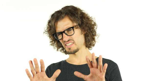 Thumbnail for Disliking, Rejecting Gesture by Unsatisfied Man w/ Curly Hairs