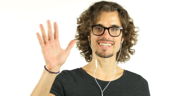 Thumbnail for Online Video Conference by  Man w/ Curl Hairs, Camera View