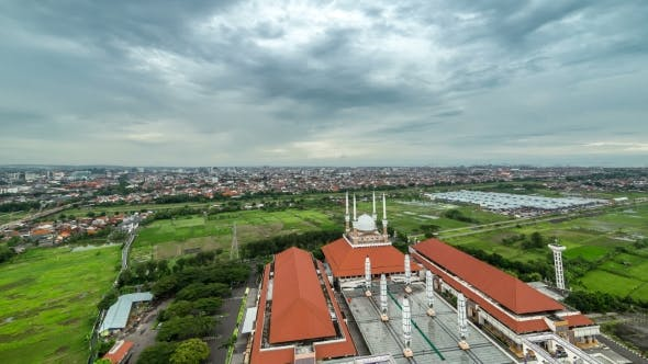 Thumbnail for Aerial View Mosque Masjid Agung Jawa Tengah