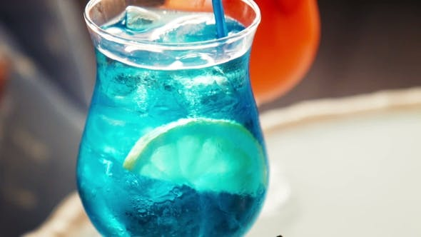 Thumbnail for Blue Beverage With Fruit Slice