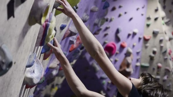 Thumbnail for Climbing Gym. Teenage Girl On The Route