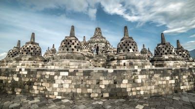 Stupas In Borobudur Temple, Central Java, Indonesia.   - Java, Indonesia, June 2016.